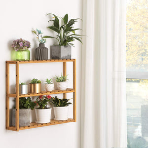 Exclusive songmics bamboo bathroom shelves 3 tier adjustable layer rack bathroom towel shelf utility storage shelf rack wall mounted organizer shelf for bathroom kitchen living room holder natural ubcb13y