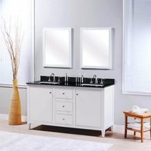 Load image into Gallery viewer, Budget friendly maykke cecelia 60 bathroom vanity cabinet 2 door 3 drawer solid birch wood frame white finish new england style double surface mounted vanity base cabinet only with tapered legs ysa1146001