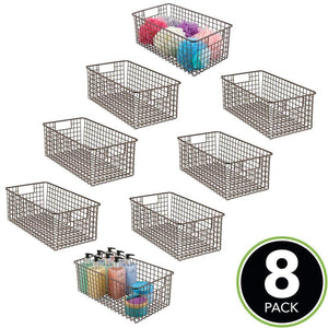 Budget mdesign farmhouse decor metal wire bathroom organizer storage bin basket for cabinets shelves countertops bedroom kitchen laundry room closet garage 16 x 9 x 6 in 8 pack bronze