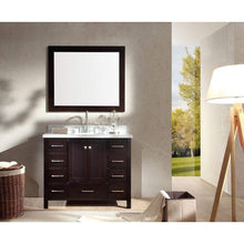 Load image into Gallery viewer, Results ariel cambridge a043s esp 43 single sink solid wood bathroom vanity set in espresso with white carrara marble countertop