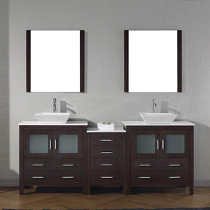 Products virtu usa dior 82 inch double sink bathroom vanity set in espresso w square vessel sink white engineered stone countertop single hole polished chrome 2 mirrors kd 70082 s es
