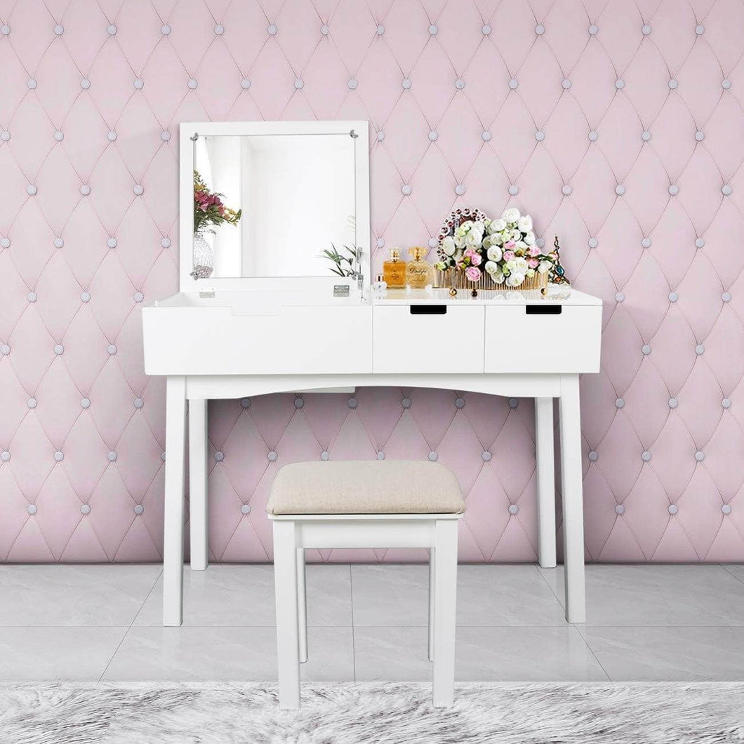 Shop vanity set with dressing table flip top mirror organizer cushioned stool makeup wooden writing desk 2 drawers easy assembly beauty station bathroom white