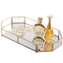 Load image into Gallery viewer, Best seller  hersoo large classic vanity tray ornate decorative perfume elegant mirrorred tray for skincare dresser vintage organizer for bathroom countertop bathroom accessories organizer brass