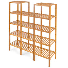 Load image into Gallery viewer, Great costway bamboo utility shelf bathroom rack plant display stand 5 tier storage organizer rack cube w several cell closet storage cabinet 12 pots