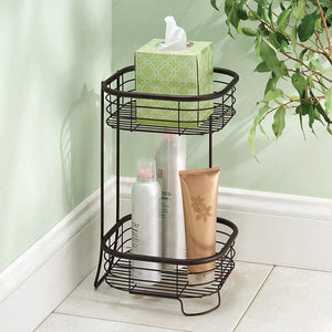 Storage organizer idesign forma metal wire free standing 2 tier shelves vanity caddy baskets for bathroom countertops desks dressers 9 5 x 9 5 x 15 25 bronze