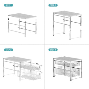 Latest bextsware under sink cabinet organizer with 2 tier wire grid sliding drawer multi function stackable mesh storage organizer for kitchen counter desktop bathroomchrome