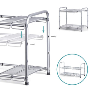 Discover the bextsware under sink shelf organizer 2 tier storage rack with flexible expandable 15 to 27 inches for kitchen bathroom cabinet
