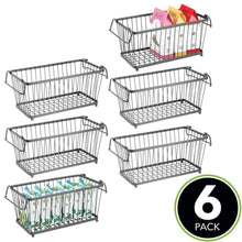 Load image into Gallery viewer, On amazon mdesign household stackable metal wire storage organizer bin basket with built in handles for kitchen cabinets pantry closets bedrooms bathrooms 12 5 wide 6 pack graphite gray