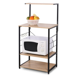 Online shopping woltu 4 tiers shelf kitchen storage display rack wooden and metal standing shelving unit for home bathroom use with 4 hooks