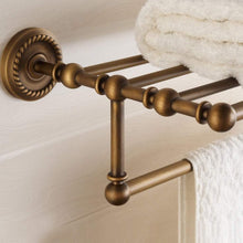 Load image into Gallery viewer, New marmolux acc morocc series 3420 ab 24 inch towel shelf with bar storage holder for bathroom antique brass brushed bronze