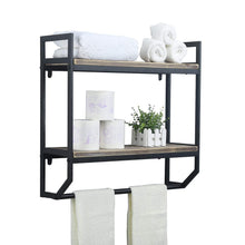 Load image into Gallery viewer, Discover the 2 tier metal industrial 23 6 bathroom shelves wall mounted rustic wall shelf over toilet towel rack with towel bar utility storage shelf rack floating shelves towel holder black brush silver