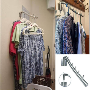 Purchase sunmall 12 6 folding wall mounted clothes hanger rack garment hook stainless steel with swing arm holder clothing hanging system closet storage organizer for bedrooms bathrooms laundry room 2 pack