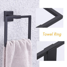 Load image into Gallery viewer, Buy kes sus 304 stainless steel matte black 4 piece bathroom accessory set rustproof towel bar double coat hook toilet paper holder towel ring wall mount no drilling self adhesive glue la24bkdg 42