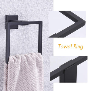 Buy kes sus 304 stainless steel matte black 4 piece bathroom accessory set rustproof towel bar double coat hook toilet paper holder towel ring wall mount no drilling self adhesive glue la24bkdg 42