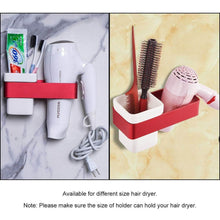 Load image into Gallery viewer, Order now ty storage hair dryer holder wall mount blow dryer holder aluminum bathroom organizer ceramic cup modern no drilling self adhesive bathroom bedroom storage red white
