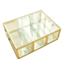 Load image into Gallery viewer, Best seller  hersoo large mirror glass top dresser make up organizer jewelry cosmetic display stackable cube 6 drawers set dresser storage for vanity with lid bathroom accessories brushes container 3drawerg