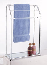 Load image into Gallery viewer, Get organize it all 3 bar bathroom towel drying rack holder with shelf chrome