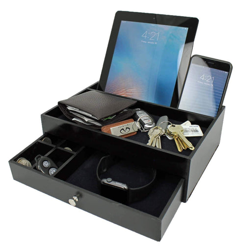 Ideas In Life Valet Drawer Charging Station - Black Nightstand Organizer Wallet and Key Tray Holds Watches, Jewelry, Tablet - 5 Compartment Cell Phone Holder for Men and Women