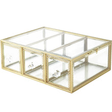 Load image into Gallery viewer, Top rated hersoo large mirror glass top dresser make up organizer jewelry cosmetic display stackable cube 6 drawers set dresser storage for vanity with lid bathroom accessories brushes container 3drawerg