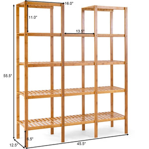 Kitchen costway bamboo utility shelf bathroom rack plant display stand 5 tier storage organizer rack cube w several cell closet storage cabinet 12 pots