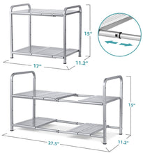 Load image into Gallery viewer, Order now bextsware metal under sink 2 tier expandable shelf organizer rack adjustable height and position 7 removable shelves expandable 18 to 25for kitchen bathroom cabinets storage chrome