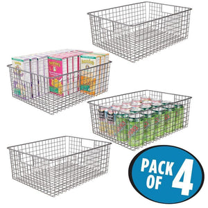 Products mdesign farmhouse decor metal wire food organizer storage bin baskets with handles for kitchen cabinets pantry bathroom laundry room closets garage 4 pack graphite gray
