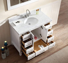 Load image into Gallery viewer, Amazon ariel cambridge a043s wht 43 single sink solid wood bathroom vanity set in grey with white 1 5 carrara marble countertop