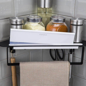 Heavy duty forious bathroom shower caddy and kitchen shelf combine with squeegee towel ring and robe hooks patented glue 3m self adhesive aluminum black