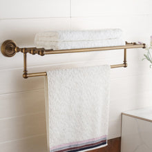 Load image into Gallery viewer, Latest marmolux acc morocc series 3420 ab 24 inch towel shelf with bar storage holder for bathroom antique brass brushed bronze