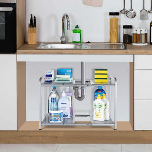 Online shopping bextsware metal under sink 2 tier expandable shelf organizer rack adjustable height and position 7 removable shelves expandable 18 to 25for kitchen bathroom cabinets storage chrome