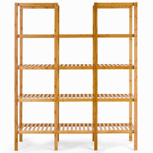 Get costway bamboo utility shelf bathroom rack plant display stand 5 tier storage organizer rack cube w several cell closet storage cabinet 12 pots