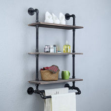 Load image into Gallery viewer, Save industrial bathroom shelves wall mounted with 2 towel bar 24in rustic pipe shelving 3 tiered wood shelf black farmhouse towel rack metal floating shelves towel holder iron distressed shelf over toilet