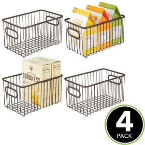Buy now mdesign metal farmhouse kitchen pantry food storage organizer basket bin wire grid design for cabinets cupboards shelves countertops closets bedroom bathroom 10 long 4 pack bronze