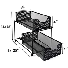 Load image into Gallery viewer, Order now 2 tier organizer baskets with mesh sliding drawers ideal cabinet countertop pantry under the sink and desktop organizer for bathroom kitchen office