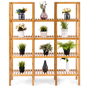 Heavy duty costway bamboo utility shelf bathroom rack plant display stand 5 tier storage organizer rack cube w several cell closet storage cabinet 12 pots