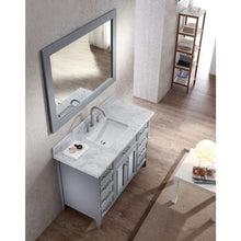 Load image into Gallery viewer, Home ariel kensington d049s gry 49 inch solid wood single sink bathroom vanity set in grey with white carrara marble countertop