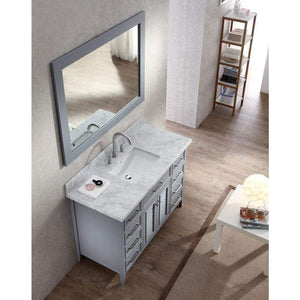 Home ariel kensington d049s gry 49 inch solid wood single sink bathroom vanity set in grey with white carrara marble countertop