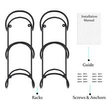 Load image into Gallery viewer, Shop here wallniture wrought iron metal towel rack solid quality wall mountable for bathroom storage large enough to fit rolled bath beach towels black set of 2