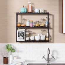 Load image into Gallery viewer, The best homfa bamboo shelf 3 tier utility storage organizer adjustable layer rack bathroom towel shelves multifunctional kitchen living room holder wall mounted retro color