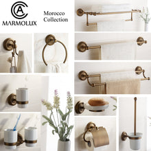 Load image into Gallery viewer, Great marmolux acc morocc series 3420 ab 24 inch towel shelf with bar storage holder for bathroom antique brass brushed bronze