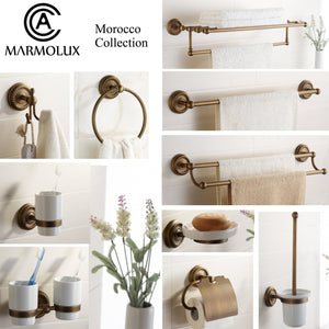 Great marmolux acc morocc series 3420 ab 24 inch towel shelf with bar storage holder for bathroom antique brass brushed bronze