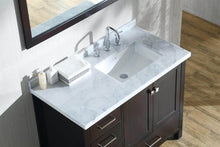 Load image into Gallery viewer, Budget friendly ariel cambridge a043s r cwr esp 43 inch right offset single sink bathroom vanity set in espresso with carrara marble countertop rectangular sink