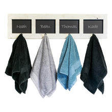 Load image into Gallery viewer, Amazon drakestone designs wall mounted coat and towel rack 4 hooks with chalkboards entryway bathroom organizer solid wood farmhouse decor whitewash