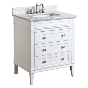 Online shopping kitchen bath collection kbc l30wtcarr eleanor bathroom vanity with marble countertop cabinet with soft close function undermount ceramic sink 30 carrara white