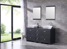 Load image into Gallery viewer, On amazon sliverylake 60 bathroom vanity and sink combo bathroom cabinet black countertop sink bowl w mirror set ceramic vessel black trapeziform