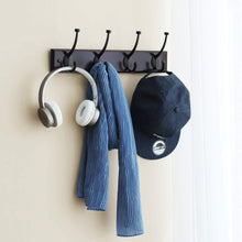 Load image into Gallery viewer, Shop here songmics wooden wall mounted coat rack 16 inch rail with 4 metal hooks for entryway bathroom closet room dark brown ulhr20z