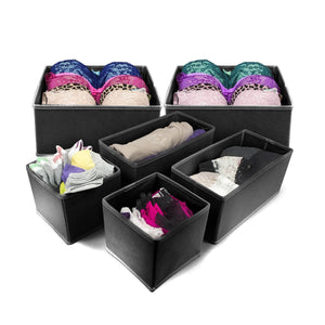 Sorbus Foldable Storage Drawer Closet Dresser Organizer Bins for Underwear, Bras, Socks, Ties, Scarves, Accessories and More - 6 Piece Set (Black)