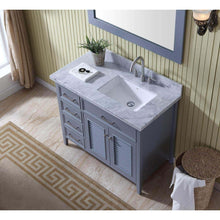 Load image into Gallery viewer, Shop for ariel d043s r gry kensington 43 inch right offset single sink bathroom vanity set in grey with carrara marble countertop