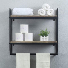 Load image into Gallery viewer, Exclusive 2 tier metal industrial 23 6 bathroom shelves wall mounted rustic wall shelf over toilet towel rack with towel bar utility storage shelf rack floating shelves towel holder black brush silver