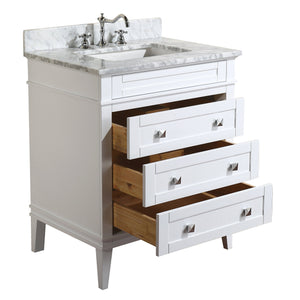 Organize with kitchen bath collection kbc l30wtcarr eleanor bathroom vanity with marble countertop cabinet with soft close function undermount ceramic sink 30 carrara white
